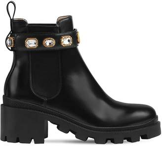 Gucci 40mm Trip Embellished Leather Boots