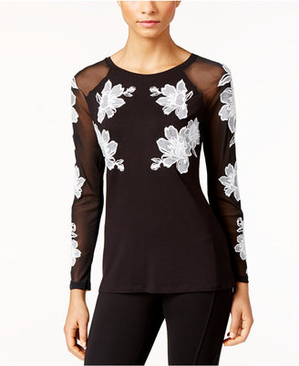 INC International Concepts Embroidered Illusion Top, Only at Macy's $69.50 thestylecure.com
