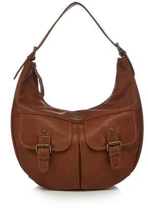 Mantaray Brown Embroidered Strap Shoulder Bag