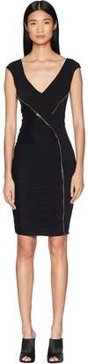 Versace Abito Donna Asymmetrical Zip Sheath Dress Women's Clothing