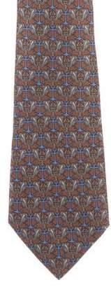 Hermes Bird & Anchor Print Silk Tie