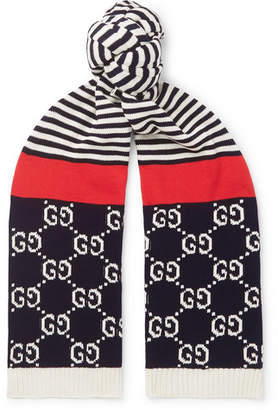 Gucci Logo-Intarsia Striped Cotton Scarf - Men - Navy