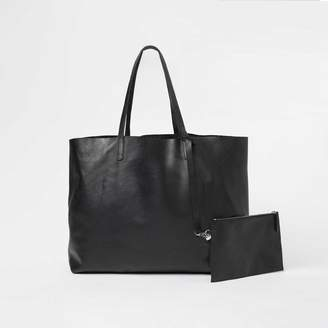 DSTLD Womens Leather Tote Bag in Black