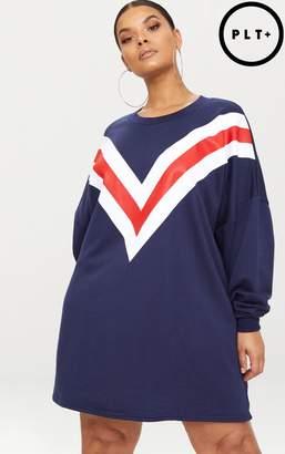 PrettyLittleThing Plus Navy Chevron Oversized Jumper Dress