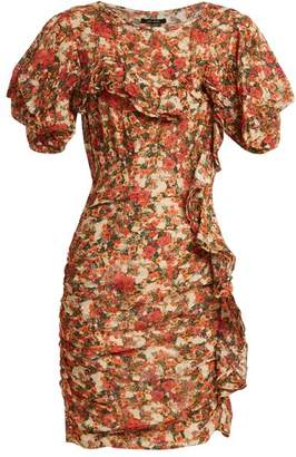 Isabel Marant - Face Floral Print Ruffle Trimmed Dress - Womens - Red Print