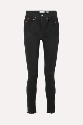 RE/DONE High Rise Ankle Crop Rigid Skinny Jeans - Black