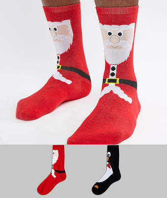 Original Penguin Duke King Size 2 Pack Holidays Santa & Printed Socks