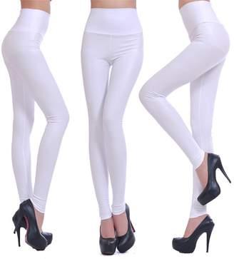 Celine lin Women's PU Leather High Waist Leggings Stretch Pants,XS