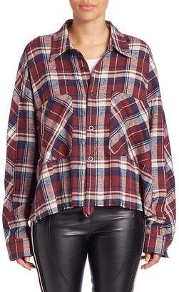 Faith Connexion Women's Cotton Plaid Curved Hem Shirt