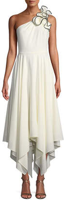 Halston Ruffle One-Shoulder Crepe Gown