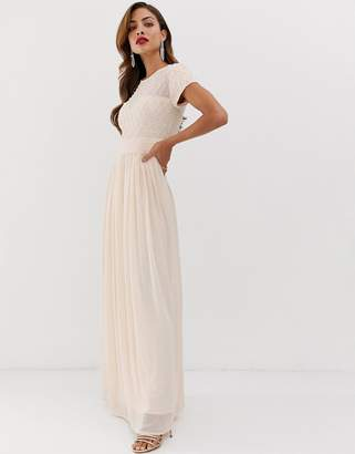 d85b0beb94 Little Mistress cap sleeve waist detail maxi dress