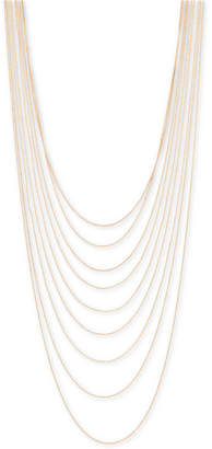 "BCBGMAXAZRIA Gold-Tone Multi-Row Ball Chain Necklace, 21"" + 3"" extender"