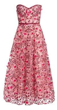 Marchesa Strapless Sweetheart Embroidered Floral Tulle A-Line Dress