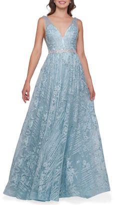 Mac Duggal V-Neck Sleeveless Rhinestone Accented Lace Applique Gown