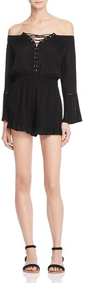 En Créme Off-the-Shoulder Romper - 100% Exclusive $68 thestylecure.com