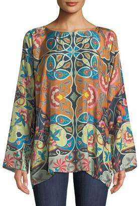 Johnny Was Lentine Silk Printed Georgette Tunic