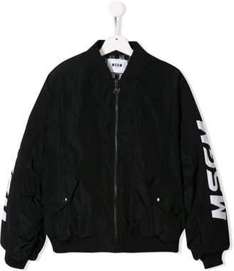 MSGM Kids logo print bomber jacket