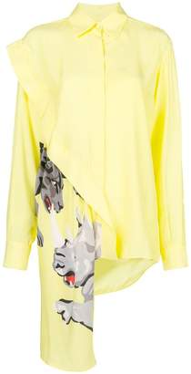 Krizia asymmetric dog print shirt