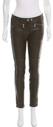 Belstaff Leather Mid-Rise Pants