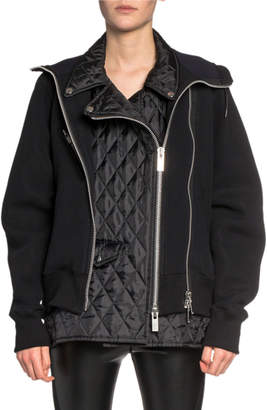 Sacai Moto-Style Quilted-Front Hoodie Sweatshirt