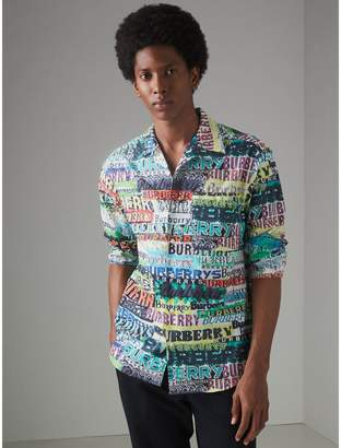 Burberry Tag Print Cotton Shirt , Size: M
