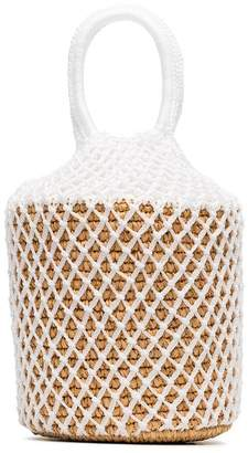 Sensi Studio White straw and net bucket bag