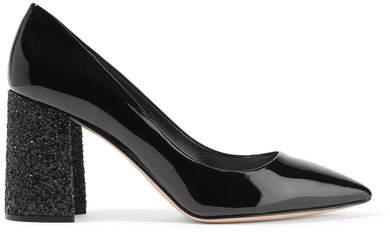 Miu Miu - Glittered Patent-leather Pumps - Black
