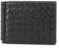 Bottega Veneta Basic Woven Bi-Fold Clip Wallet $460 thestylecure.com