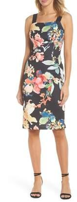 Adrianna Papell Garden Fiesta Print Scuba Sheath Dress