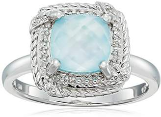 Mother of Pearl Sterling Cushion Rope White Mother-of-Pearl Over Baby Blue-Topaz Doublet and Diamond Accent Ring