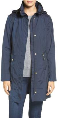 Cole Haan Back Bow Packable Hooded Raincoat