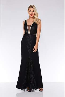 Quiz Black Embroidered Fishtail Maxi Dress