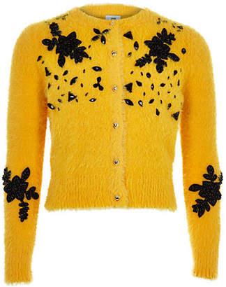 River Island Girls yellow fluffy embellished cardigan