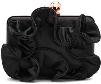 Sophia Webster Vivi Ruffle Satin Box Clutch Bag with Chian