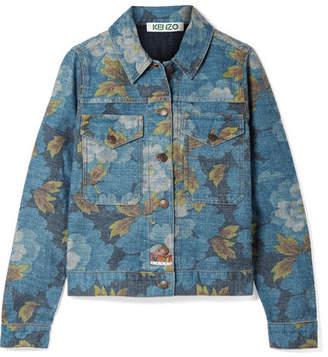 Kenzo Floral-print Denim Jacket - Blue