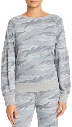 Andrew Marc Puffed-Sleeve French Terry Sweatshirt