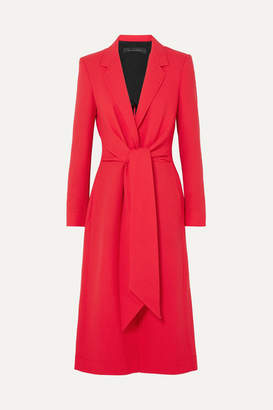 Roland Mouret Hollywell Belted Wool-crepe Coat - Red