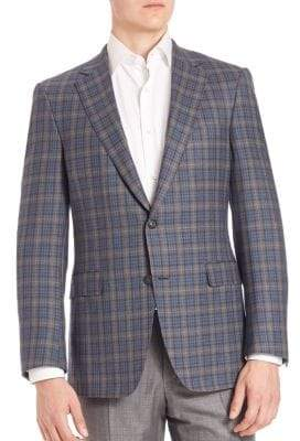 Saks Fifth Avenue COLLECTION BY SAMUELSOHN Classic-Fit Tartan Wool Plaid Jacket