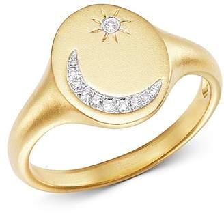 Meira T 14K Yellow Gold Pavé Diamond Moon & Star Signet Ring