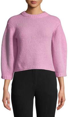 Tibi Cozette Cropped Alpaca Pullover Sweater