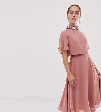 Asos DESIGN Petite midi dress with crop top and 3D embellished collar