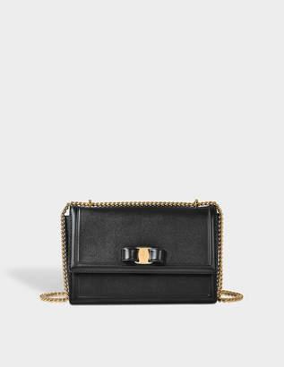 Salvatore Ferragamo Ginny Medium Bag in Black Score Leather