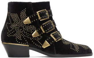 Chloé Black and Gold Velvet Susanna Boots
