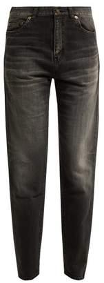 Saint Laurent Mid Rise Cotton Boyfriend Jeans - Womens - Black