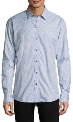 Zachary Prell Caffoe Dotted Cotton Button-Down Shirt