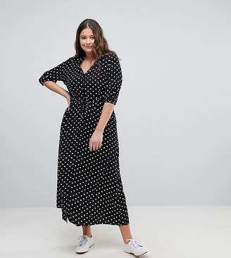 Glamorous Curve Maxi Tea Dress In Polka Dot