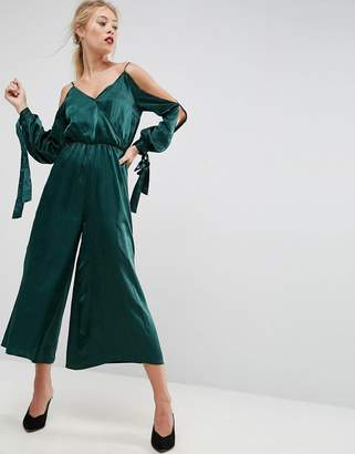 Asos Jumpsuit with Cold Shoulder In Satin