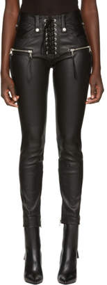 Unravel Black Leather Lace-Up Pants