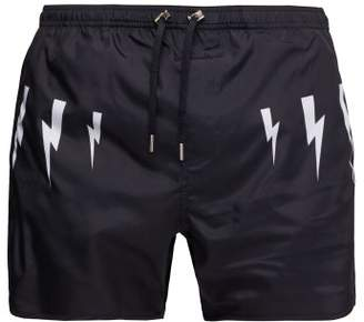 Neil Barrett Lightning Bolt Print Swim Shorts - Mens - Navy