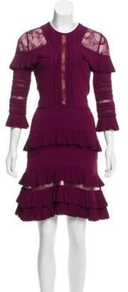 Elie Saab Ruffle-Trimmed Mini Dress Purple Ruffle-Trimmed Mini Dress